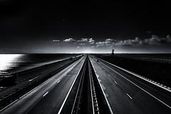 Afsluitdijk, The Netherlands (BartvanDam) Tags: afsluitdijk dike holland dutch landscape traffic automotive road highway friesland noordholland blackwhite fineart artistic light waddenzee ijsselmeer autobahn