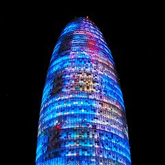 Torre Agbar lights (Fnikos) Tags: tower light building architecture colour color night nightshot nightview outdoor