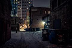 Calgary backyard (reinaroundtheglobe) Tags: calgary alberta canada winter snow alley reiniersnijders reinaroundtheglobe dark night lowlight urban