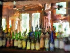 Still life. I love this bar. Old Gristmill in Gruene, Texas (Richard Denney) Tags: gruenehall gruene texas gristmill bar stilllife bottles painterly lensbaby