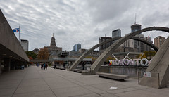 Sheep Wool Clouds (Jocey K) Tags: sonydscrx100m6 triptocanada ontario canada autumn toronto city highrise clouds sky buildings architecture people sign artwork nathanphillipssquare christmastree reflections water flag autumncolour