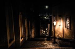 Down To the City (NickLesta) Tags: prague praha night stairs dark lamp czechrepublic capital view alone streets