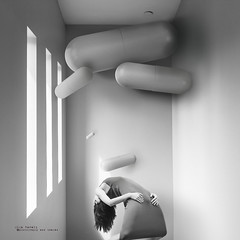 Friday, March 8 (olgavareli) Tags: olga vareli friday march8 woman depression pills drugs mental illness room floating walls prison soul conceptual black white