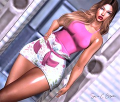 BLOG #238 (Suzie Coba Esquire) Tags: top shorts hair doux salamandre fashion blog aria style mesh bento poses release new secondlife virtual woman blogger
