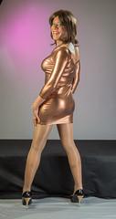 Copper Clad Curvaceousness! (kaceycd) Tags: crossdress tg tgirl lycra spandex wetlook metallic minidress pantyhose pumps peeptoepumps opentoepumps highheels stilettopumps stilettoheels sexypumps stilettos s