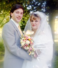 New Bride and Groom (vintage ladies) Tags: 80s 80swedding 80sstyle 80sbride portrait people photograph photo 80slady 80swoman woman lady lovely wedding weddingdress bride bouquet sunshine female man male brideandgroom groom suit tie husband wife husbandandwife smile smiling