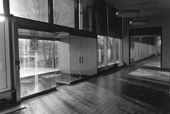 Front Doors (TheGraffitiHunters) Tags: nj new jersey street photography photo walks urban enviroment ghetto glass sunlight bando abandoned building film black white bw ilford hp5