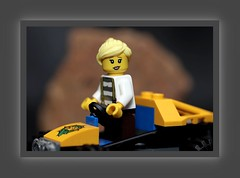 Blond having fun on an ATV (N.the.Kudzu) Tags: tabletop toys lego miniature canondslr meike 85mmf28 macro lens canon430ex flash photoscape frame