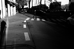 Shadow crossing (Leica M6) (stefankamert) Tags: shadow crossing woman people car light dark film analog analogue noir noiretblanc leica m6 leicam6 summaron 35mm kodak trix stefankamert shadows