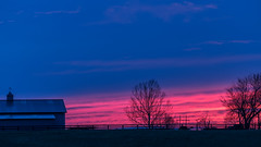 Red at night, photographer's delight (sniggie) Tags: kentucky lebanon marioncounty farm horse horsefarm stable sunset red blue sky barn weathervein