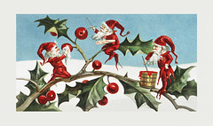 Vintage Santa elves Christmas illustration
