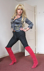 Feeling Milfy.... (Irene Nyman) Tags: irenenyman dutch crossdress crossdresser irene nyman tranny tgirl transgirl boots stilettoes legs blueeyes jeans cutie babe blonde xdresser mtf belt denim transvestite cute holland highheels miniskirt overknees makeup portrait leggings travestiet travestie xdress cd tv suede