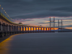 A cold winters day (Wizard CG) Tags: tags high tide shade 10 welding glass landscape second severn crossing the south west uk bridge bristol channel coast coastal landmark long exposure rocks water river seascape sunset hdr ngc world trekker micro four thirds 43 m43 olympus mzuiko digital ed architecture tourist attraction outdoor sky