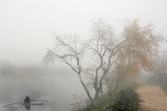 Regreso. Comeback (marisabosqued) Tags: niebla fog río river ebro clavealta highkey canoa canoe superposición superposition snapseed