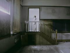 (emmakatka) Tags: abandoned high school woman light shadow shadows stairs staircase emmakatka minnesota