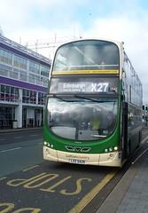 Lothian 1042 at Livingston Bus Terminal. (calderwoodroy) Tags: eclipsegemini2 wrightbus b9tl volvo lxz5429 1042 servicex27 lothiancountry lothianbuses lothian lothianbusescentenary lothian100 westlothian almondvaleavenue doubledecker bus busterminal livingston scotland