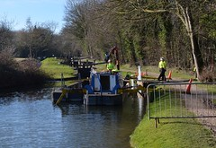 Shoring up the side (simon edge) Tags: chesterfieldcanal nikon d5100 40mm stitched msice water workmen