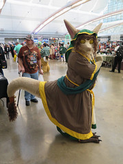 Sesra (Coyoty) Tags: anthrocon2018 davidllawrenceconventioncenter pittsburgh pennsylvania pa convention dealersroom anthropomorphics anthrocon anthropomorphic furry fandom fun furries fursuit furryfandom dragon cosplayer costume mascot brown green yellow people sesra