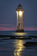 SHINE A LIGHT (lynneberry57) Tags: perchrocklighthouse wirral merseyside rivermersey lighthouse night light sea water sky dark sunset cloud canon 70d rocks tide seascape landscape reflection beach