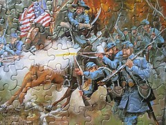 The Civil War: detail (pefkosmad) Tags: jigsaw puzzle hobby leisure pastime complete used secondhand cardboard thecivilwar whitemountainpuzzles history illustration