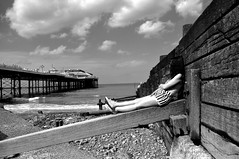 Cromer (Pentax K-X). (damhphotography) Tags: chilling cromer seascape norfolk monochrome outside sea water nature blackandwhite bw