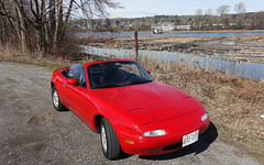 Winter has almost gone (D70) Tags: 1990 mazda miata na winter fraser river seaimpvlll northarm fraserriver roadster topless sportscar sports car 15degrees log booms