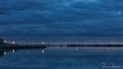 Blue Hour and reflections (BraCom (Bram)) Tags: 169 bracom bramvanbroekhoven goereeoverflakkee grevelingen grevelingenmeer herkingen holland nederland netherlands southholland windparkkrammer zuidholland avond blauweuur bluehour cloud crane dusk evening lake landscape landschap lantaren lantern lichten lights meer redlights reflection rodelichten silhouetten silhouettes sky spiegeling stars sterren twilight water widescreen windmill windmills windmolens windpark windturbines winter wolk