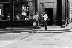 Castle Street, Edinburgh (Cycling-Road-Hog) Tags: blackwhite candid canoneos750d castlestreet citylife colour ef50mmf18stm edinburgh fashion hat monochrome niftyfifty people places scotland smoke smoking street streetphotography streetportrait style urban