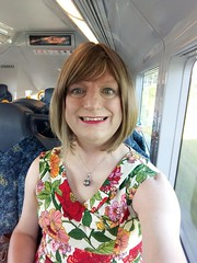 Next Station: Coniston (justplainrachel) Tags: justplainrachel rachel selfie selfportrait dress floral frock transvestite crossdresser smile train wollongong nsw australia vanessatong retro vintage portrait