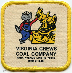 Virginia Crews Coal Co. Patch (Coalminer5) Tags: coalmining coalminer coalmemorabilia coalcollectibles mining miningmemorabilia miningcollectible miningartifacts sewonpatch undergroundmining undergroundminer miningequipment continuousminer virginiacoal racoon hardhat