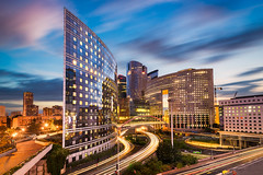 Night in La Defense (Michael Abid) Tags: paris defense night skyline ladefense france architecture city office building business car traffic modern road french blue transport rushhour future futuristic glass highway tower dynamic bank finance