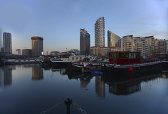 London docklands (Peter Warne-Epping Forest) Tags: london docklands peterwarne nightphotography longexposures night blueperiod architecture buildings flats apartments boats