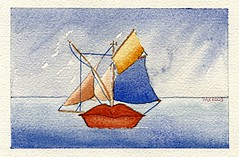 Sailing word 2 (Pax30091) Tags: arches aquarelle acuarela sailing words postcards olderwork serie