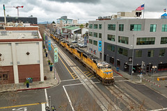 Down on the Corner, Out in the Street (sully7302) Tags: union pacific street running jack london square sd70m sd70ace up oakland california nocal city railroad train trains transport emd electro motive division freight