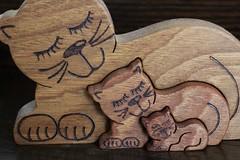 119#26 Comical (Pat's_photos) Tags: cat ornament wood 11926 smileonsaturday shadesofbrown
