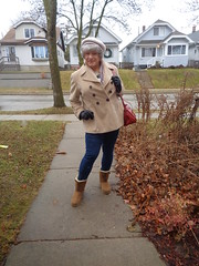 Off To Take Care Of Some Chores On A Gloomy And Chilly Friday (Laurette Victoria) Tags: coat hat gray leggings boots purse woman laurette sidewalk
