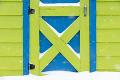 Victoria Snow Days 6 (josullivan.59) Tags: 2019 artistic bc britishcolumbia canada february vancouverisland victoria abstract blue colors day detail door geometric green minimalism outdoor outside snow texture wallpaper white winter