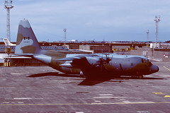 130312 Lockheed CC130H Hercules EGPK 1987 (MarkP51) Tags: 130312 lockheed cc130h hercules caf canadianarmedforces military transport prestwick airport pik egpk scotland aircraft airliner airplane plane image markp51 sunny aviationphotography sunshine nikon f301 kodachrome64 kodachrome slide film scan