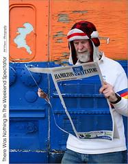 There Was Nothing In The Weekend Spectator (jwvraets) Tags: surreal surrealism portrait notingtosee transparent composite newspaper hamiltonspectator grimsby frytruck orange blue opensource gimp nikon d7100 afsdxnikkor35mm118