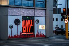 Quake City (Jocey K) Tags: newzealand christchurch car t evening city cbd building architecture words windows bluehour