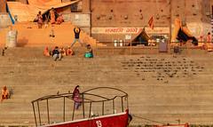 Varanasi, India (Ninara) Tags: hindu india varanasi holycity ganges ghat boatride water sadhu boat steps chetsinghghat uttarpradesh kashi benares