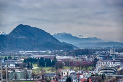 View of the Alps and river Inn valley from Kufstein fortress in Tyrol, Austria (UweBKK (α 77 on )) Tags: view landscape alps mountain valley inn kufstein fortress grey cloud sky city urban tyrol tirol austria österreich europe europa sony alpha 77 slt dslr