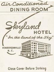 Skyland Hotel - Hendersonville, North Carolina (The Cardboard America Archives) Tags: northcarolina motel hotel matchbook matchcover vintage