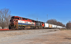 Southbound Grain Train in Watson, IL (Grant G.) Tags: cn bcol bc rail canadian national railway railroad locomotive train trains south southbound grain unit freight ge power illinois barn cowl