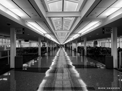 Straight (mswan777) Tags: mobile apple iphoneography iphone oklahoma tulsa building architecture reflection balance white black monochrome long light ceiling interior indoor travel terminal concourse airport
