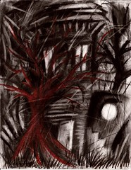House with Red Tree (Skyler Brown Art) Tags: abandoned angst architecture art artwork blackred charcoal coloredpencil creepy dark darkness drawing emotional germanexpressionism goth gothic haunted house paper sad scary tree trees