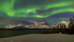 Lyngen Alps Northern Lights (pboolkah) Tags: canon canon5d canon5dmkiv water ocean aurora clouds mountains snow trees alps lyngen norway winter nature cold temperature coldtemperature tranquility night astronomy beauty