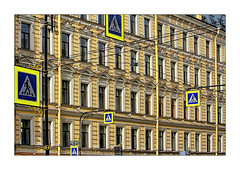 your choice (Armin Fuchs) Tags: arminfuchs stpetersburg russia signs yellow blue diagonal house architecture gutters windows lamp jazzinbaggies