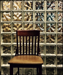 I arrived late in the day (Bob R.L. Evans) Tags: glassblocks chair woodenchair composition unusual minimalism squares pattern symmetry rows columns ipadphotography lobby retro