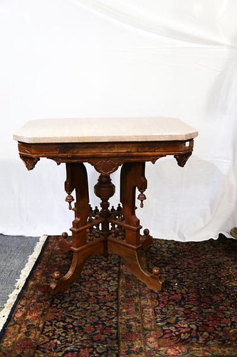 Walnut Victorian Marble Top Table ($168.00)
